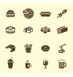 Fast-food icon set vector image vector image