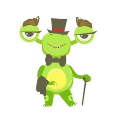 Gentleman funny monster with top hat and bow tie vector