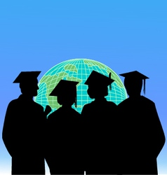 graduates and the world vector image