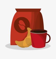packaking of coffee and porcelain cup with vector image