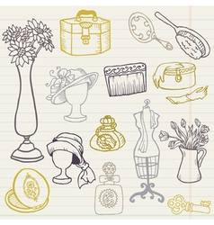Set of Fashion Hand drawn Doodles vector image