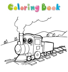 train coloring page vector image