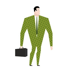 Businessman in suit of dollars Money Clothing vector image