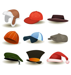 caps top hats and other headwear set vector image