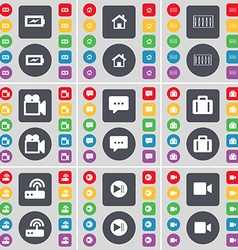 Charging House Equalizer Film camera Chat bubble vector image vector image