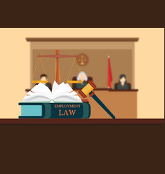 employment law books with a judges gavel vector image vector image