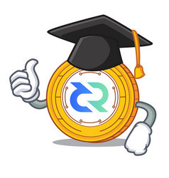 graduation decred coin character cartoon vector image vector image