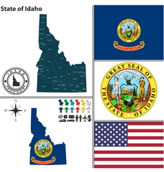 Map of Idaho with seal vector image vector image