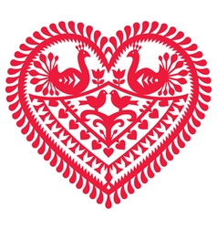 Polish folk art pattern for Valentines Day vector image vector image