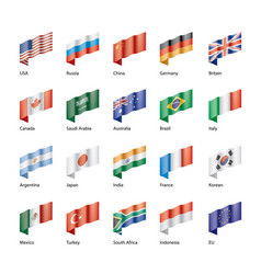 set of flags of the g20 vector image