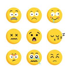 set of sad smiling emoticon faces vector image