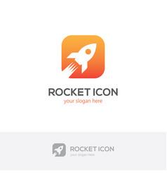 square rocket icon vector image vector image