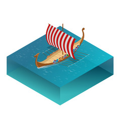 viking drakkar sailing ship floating on the sea vector image