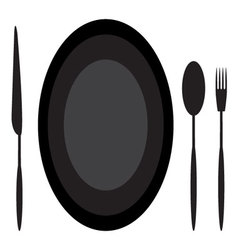 Dining etiquette plate spoon knife and fork vector image