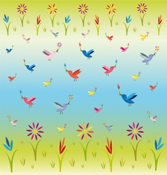 flowers and birds vector image vector image