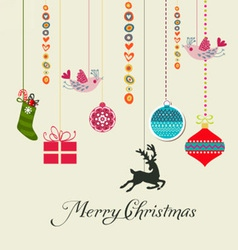retro christmas hanging elements vector image vector image