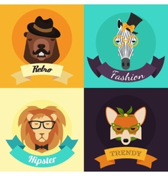 Set of Fashion Hipster Animals vector image vector image