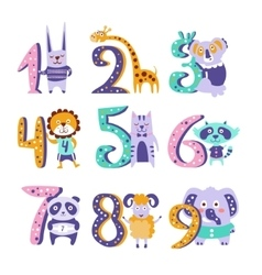 Stylized Funky Animals Standing Next To Digits vector image vector image