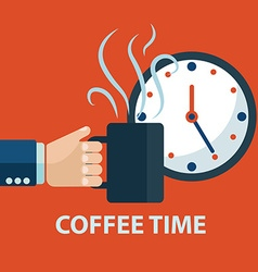Coffee time coffee break concept Hand holding vector image vector image