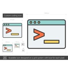 Custom coding line icon vector