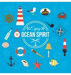 Enjoy ocean spirit Summer nautical typographical vector image vector image