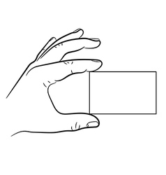 hand holding a business card vector image vector image
