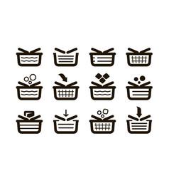 shopping basket set icons shop buy sale symbol vector image vector image