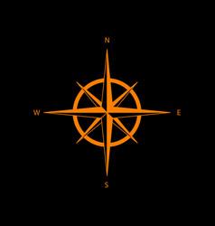 wind rose sign orange icon on black background vector image