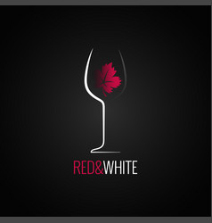 wine glass logo design wine leaf red and white vector image vector image
