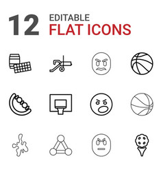 12 ball icons vector