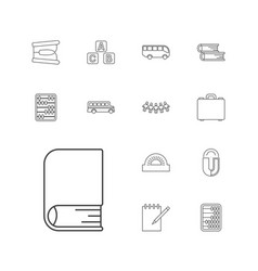 13 school icons vector