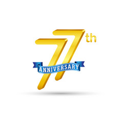 77th golden anniversary logo with blue ribbon vector