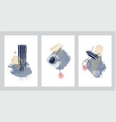 abstract art design set hand painted minimal vector image