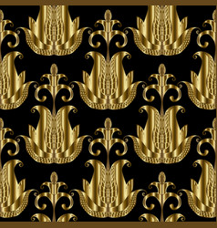 abstract floral paisleys seamless pattern black vector image