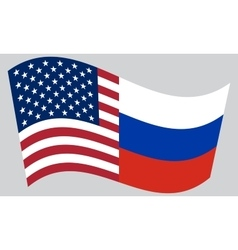 American and Russian flags waving vector