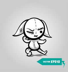 Angry sewn voodoo bunny vector