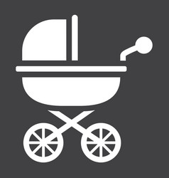 Baby carriage solid icon pram and pushchair vector