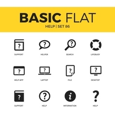 Basic set of help icons vector
