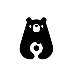 bear donuts negative space logo icon vector image