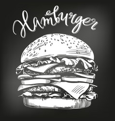 Big burger hamburger hand drawn vector
