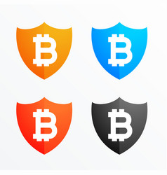 bitcoin shield secure symbol icons set vector image