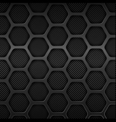 Black metal texture background honeycomb pattern vector