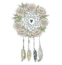 Boho style background Peonies feathers and leaves vector