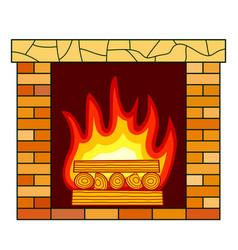 Brick fireplace icon vector