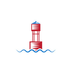 Buoy on wave simple design template vector
