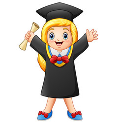 Cartoon graduate girl with diploma vector