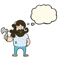 cartoon lumberjack with axe with thought bubble vector image