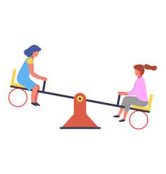 children summer playground with slide swings vector image