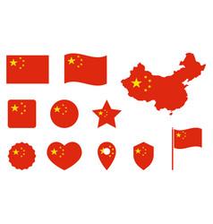 china flag icons set national symbol vector image