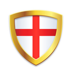 classic shield gold edge with english flag vector image